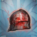 blood stained battle helm