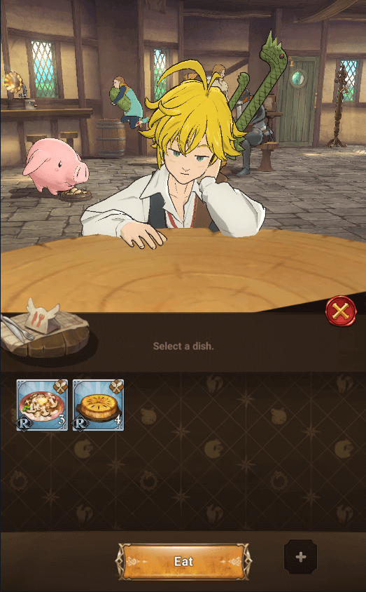 eat a dish in tavern